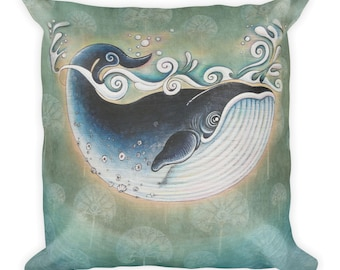 Whale with Dandelions  -  Square pillow  -  18x18  -  ship from USA