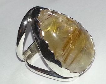 Rutilated Quartz Size 6.5 Ring, Golden Rutilated Quartz Sterling Silver Ring