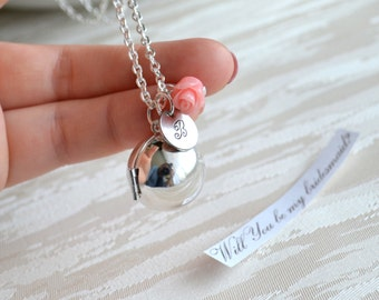 Personalized bridesmaids Locket necklace with pink roses and initial charm Photo locket pendant Bridesmaid jewelry Flower girl