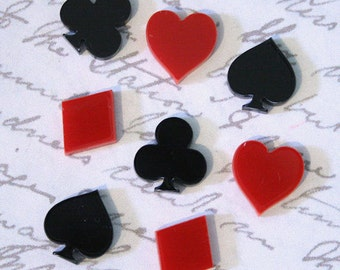 8 x Laser cut acrylic black and red card suit cabochons