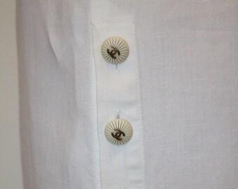French Vintage Chanel skirt / 80s / White / Pencil linen skirt / Eighties white elgant skirt / classic chanel summer skirt