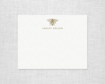 Personalized Letterpress Bee Stationery - Set of 25 Notes