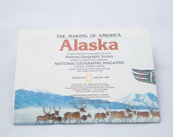 Vintage National Geographic The Making of Alaska Informational Poster