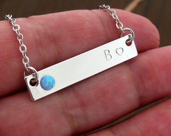 Custom bar necklace, Opal bar necklace, Bar necklace, Personalized bar necklace, Silver bar necklace, Bridesmaid gift, Gift for her, Jewelry