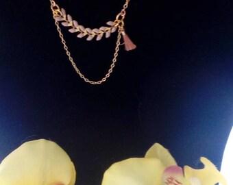 Choker necklace purple Bay leaves