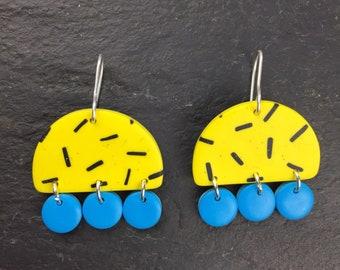Statement jewellery - bold yellow earrings -Polymer clay earrings - big bold earrings - blue geometric earrings - semi circle earrings