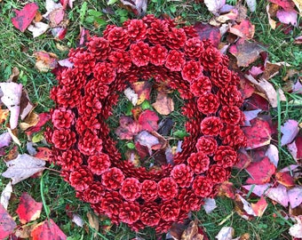Pine cone Wreath Red, Rustic Wreath, Winter Wreath, Red Holiday Door, Christmas Wreath, Holiday Wreath, Valentines Day, Woodland Lodge Cabin