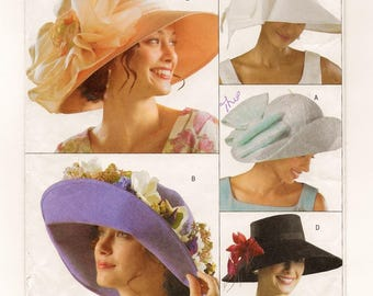 """A Pattern to Create Five Styles of Wide Brimmed, Self-Lined Hats: Uncut - Sizes Small (21.5"""") Medium (22.5"""") Large (23.5"""") ~ Butterick 4472"""