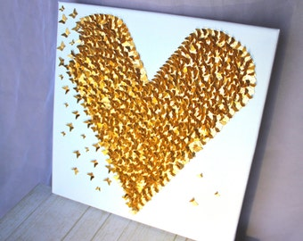 Gold Nursery/ Gold Heart Wall Decor/ Gold Wall Decor/ White and Gold/ Little Girl's Bedroom Decor/ Gold Heart/ Wall Art/ 3D Gold Heart