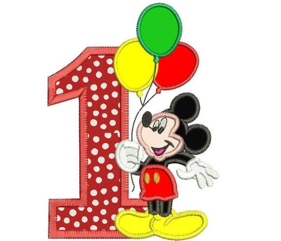 Mickey Mouse 1st Birthday Holding A Balloons Applique Design 3