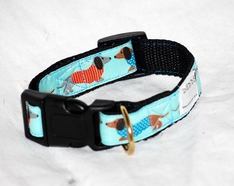 "The Blue Dachshund Collar 1"" wide webbing send neck measurements for a custom fit"