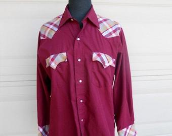 Vintage Western Shirt 1970s Burgundy Pearl Snaps Plaid Shirt S-M