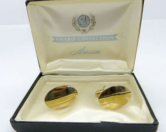 Anson Gold Tone Cuff Links, Vintage Anson Award Collection Cufflinks, Men's Suit Accessory
