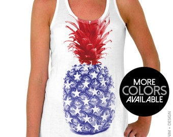 4th of July Tank Top - American Flag, Pineapple, Women's, Fourth of July, Patriotic Tank Top, Flag Tank, Independence Day, Tank Top Flowy
