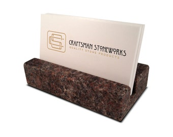 Coworker Gifts - Business Card Holder - Purple Paradiso Granite - Office Desk Home, Recycled Granite, Recycled Stone
