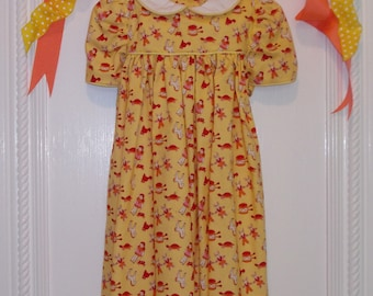 Cotton Baby Girl Dress, 4 to 6 Months. Vintage Toy Pattern