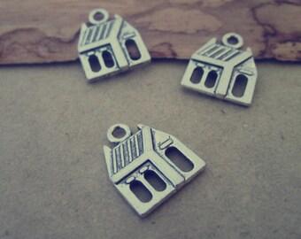 30pcs of Antique silver house charm pendant  13mmx16mm