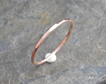 14k Rose Gold filled ring, thin ring, hammered, 1mm ring, made at your size. Skinny ring, thin ring, stacking ring.
