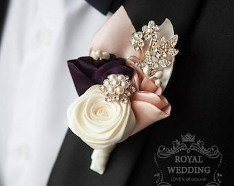 Wedding Boutonniere Grooms Boutonniere Purple Boutonniere Blush Boutonniere Gold Boutonniere Ivory Boutonniere Fabric Boutonniere Grooms Pin