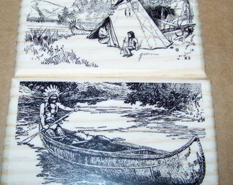 Native American Tipi, Canoe Lot of 2 New Mounted Rubber Stamps