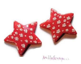 Set of 2 large dark pink star resin embellishment scrapbooking *.