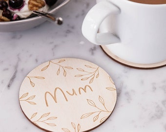 Personalised Tropical Leaf Drinks Coaster - Gift for Her - Housewarming Gift - Wooden Coaster - Mum Gift - Tea Lover Gift