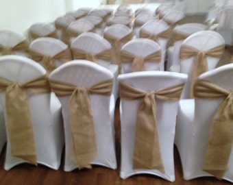 30 x Hessian sashes for wedding/party chairs - 2.4m x 15cm