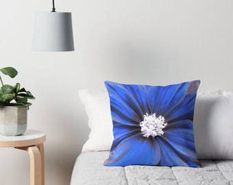 Blue Flower Pillow, Flower Toss Pillow, Blue Flower Cushion, Blue Flower Toss Pillow, Flower Pillow Case, Blue Flower Bedding, Blue Decor