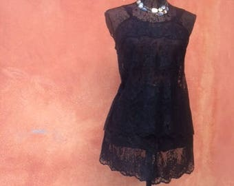 PAJAMA lace black - bands sewn to each other - handmade - 1 item in stock in 36/38