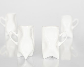 Porcelain cups set of four white , ceramic cups handbuilt for coffee or tea by ENDE