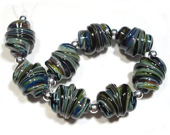 SRA Handmade Glass Lampwork Beads, Chalcedony Whirled