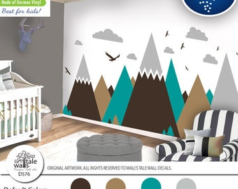 Brown Turquoise Mountain Wall Decal for Nursery,Kid room.High quality removable sticker  eagles, pine trees, clouds. Adventure decal d576