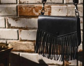 Leather fringe crossbody bag, Little leather bag, Fringe little purse, Leather tassel fringe bag, Fringe bag women, Fringe shoulder bag