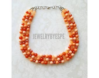 Statement Necklace Coral Necklace Crystal Orange Necklace Wedding Jewelry Multi Strand Necklace Chunky Bib Layered Necklace Gifts for her