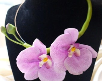 Pink Orchid Necklace, orchid flower, prom necklace