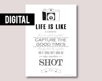 Digital print, Digital download, Printable art, Printable quote, Instant download • Life is like a camera