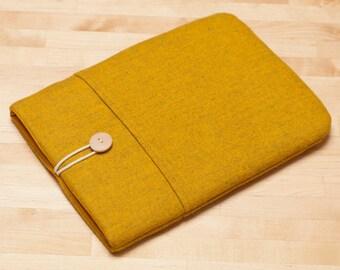 Kindle sleeve /  kindle case / Kindle paperwhite sleeve / kobo Aura sleeve - Flannel mustard