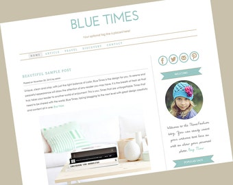 Wordpress premade theme. Clean, stylish, modern and fully responsive wordpress template - Blue Times