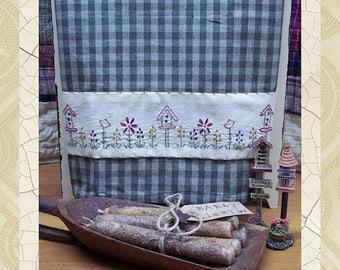 Birdhouse Flower Patch Towel Band -Primitive Stitchery E-PATTERN-Instant Download
