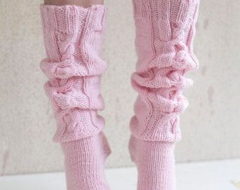 Cable pink women wool socks Made to order