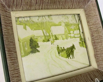 2 Vintage Chippy Framed Pictures - Cottage Chic Small Town Scenes