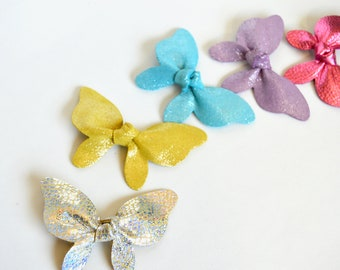 Pastel Hair Clips: Leather  Butterfly Hair Bow  // Leather Knotted Hair Bows  //  Butterfly Knotted Bow Hair Clip // Leafy Treetop Leather