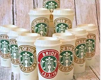 Bridesmaid Gift, Bridal Party Gift, Starbucks Cup, Custom Starbucks Coffee Cup, Wedding Party Gift, Bridesmaid Gift, Personalized Coffee Cup