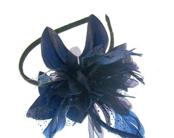 Navy Blue Flower fascinator mounted on a headband for weddings, races,prom