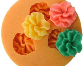 3-Cavity Flower Polymer Clay Mold Flexible Silicone Mould For Handmade Soap Candle Candy Cake Fimo Resin Crafts