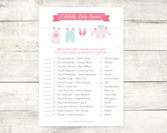 celebrity baby names matching game card printable clothes line baby girl pink baby clothes baby shower digital games - INSTANT DOWNLOAD