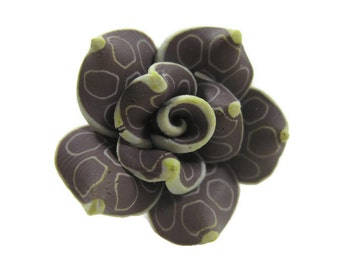 25mm Polymer Clay Rose Beads Set of Three (R08)