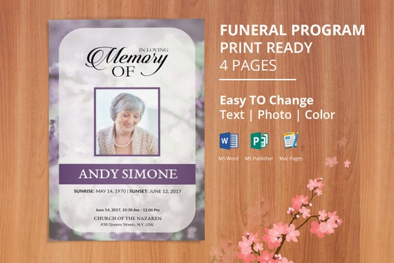 Printable Funeral program template, memorial obituary template ...
