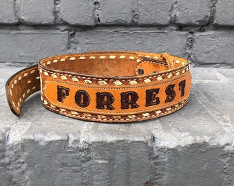 Forrest Leather Stamped Vintage Belt