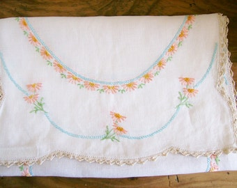 Vintage Embroidered Doily Linen Floral Table Runner Dresser Scarf  16 x 40